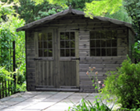 12 x 10 cabin style garden shed with double doors