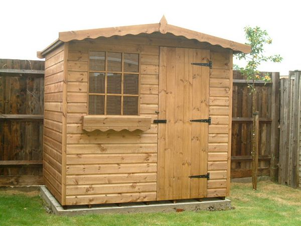 7 x 5 apex chalet garden shed made to go through house georgianed with window box