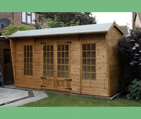 14 x 5 summerhous pavilion garden shed with georgianed windows and door