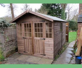 14 x 7 apex garden shed with georgian doors and windows
