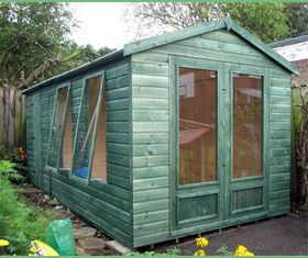 14 x 8 apex garden shed joinery doors opening deeper windows