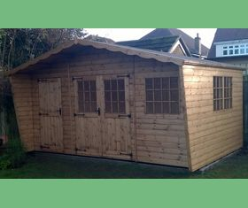 15 x 9 georgian chalet as split office and storage shed