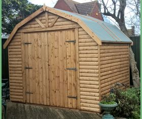 9 x 10 log lap bard style shed double doors