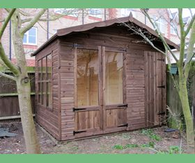 9 x 9 apex garden shed with large windows as studio