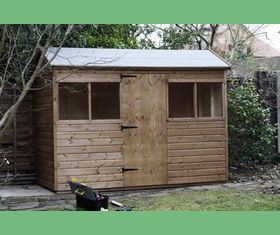 10 x 6 garden shed reversed apex door in middle of 10 plank taller
