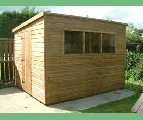 10 x 8 pent garden shed door in left hand end