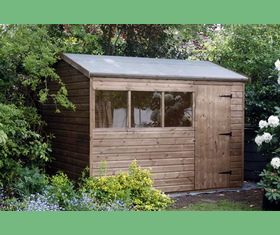 10 x 8 reverse apex garden shed plank taller door in 10