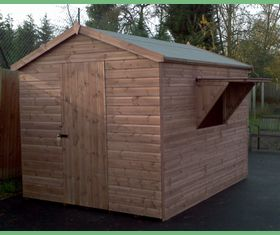10 x 8 tuck shop shed single serving hatch
