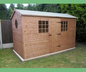 12 x 6 apex garden shed door in 12 georgian windows octagonal window