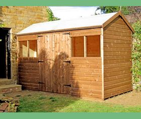 12 x 6 reverse apex garden shed double doors in middle