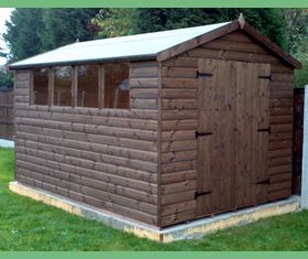 12 x 8 apex garden shed double door