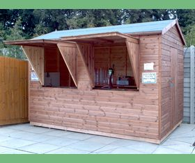 12 x 8 tuck shop shed twin serving hatches