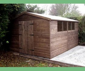 14 x 10 apex garden shed double door