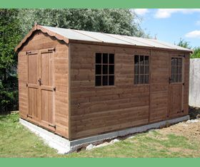14 x 10 apex garden shed double doors georgian windows