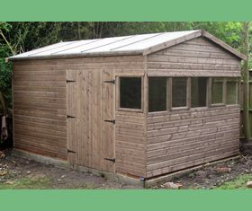 14 x 10 apex garden shed double doors opening windows across 10