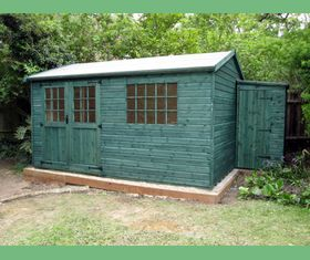14 x 10 apex garden shed with georgian windows and double doors treated green