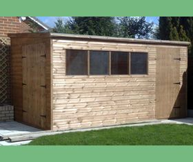 14 x 8 pent garden shed forward sloping roof door in front double doors in end plank taller