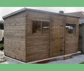 14 x 8 pent shed plank taller center door