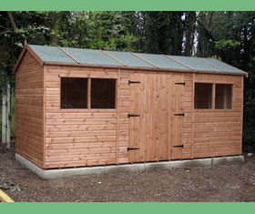 16 x 8 apex garden shed double doors in long side