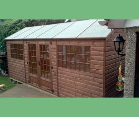 18 x 8 apex garden shed with georgian windows and ironmongery upgrade