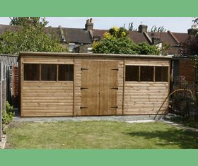 18 x 8 pent garden shed double door