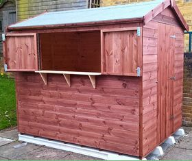 8 x 6 tuck shop shed hatch open
