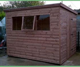 9 x 8 pent garden shed door in end opening window