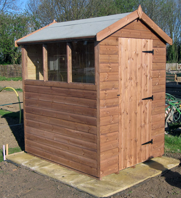6 x 4 apex roof shed with right hand hinged door