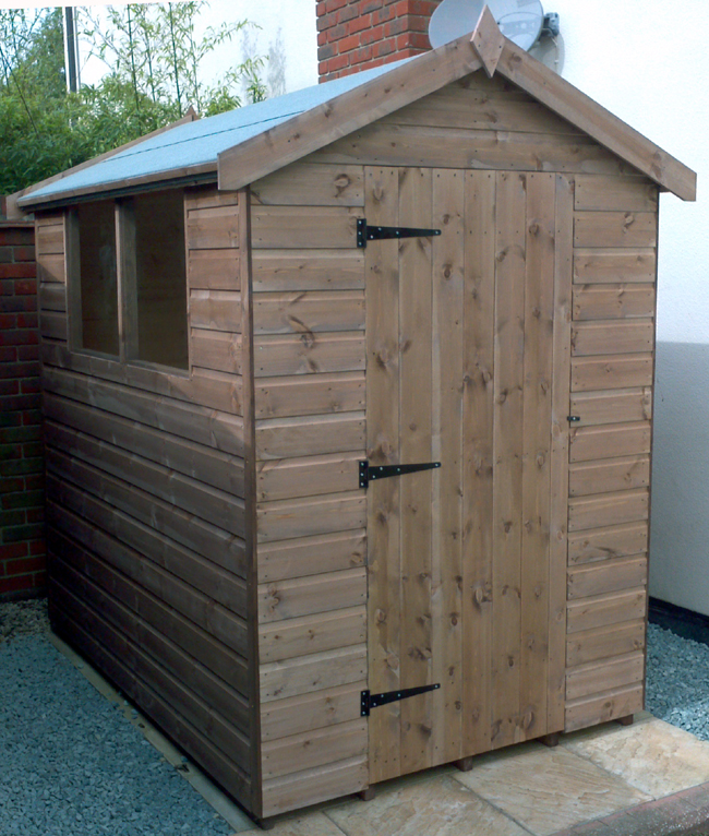 7 x 5 apex roof shed with left hand windows and left hinged door