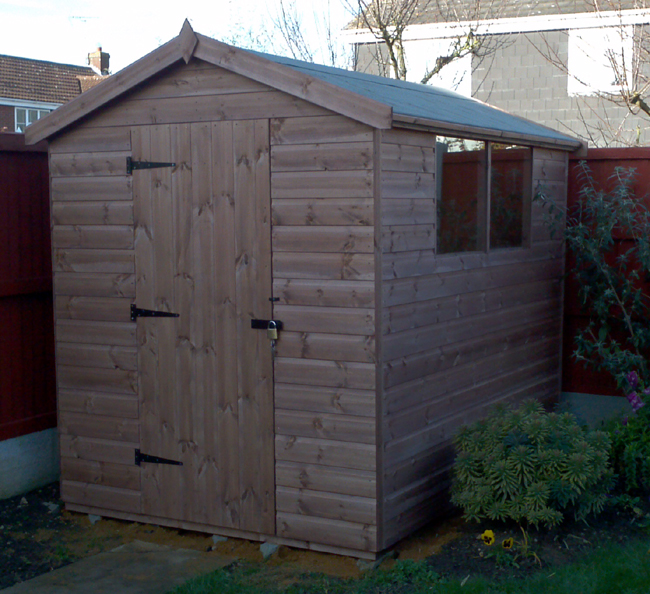 8 x 6 apex roof shed with left hand hinged door