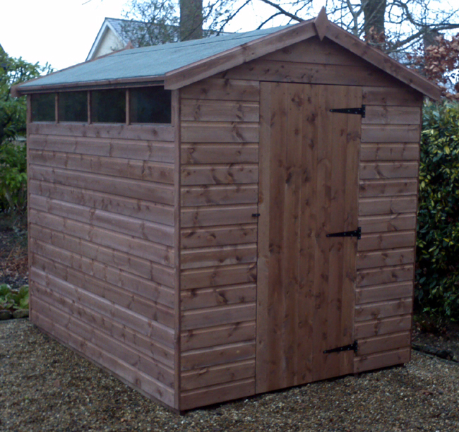 8 x 6 apex roof shed with right hand hinged doorand slit windows