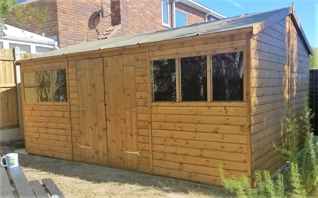 16 x 12 reverse apex garden shed with optional double doors