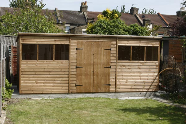 18 x 8 double door pent shed